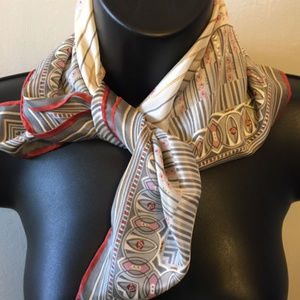 Accessories - Vintage All Silk Scarf-Made in Japan Gray/Pink